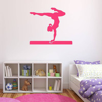 Wall Decal Vinyl Sticker Decals Art Decor Design Gymnastics Athletics Asana Acrobatics Yoga Girl Sport Bedroom Living Room (r262)