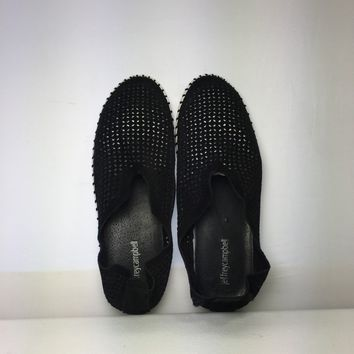 Jeffrey Campbell Women's Black Tiles Perforated Slip-On Sneaker, Size 9M