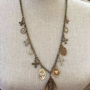 Sacred Heart Virgin Mary Religious Charm Necklace, Vintage Medals, Rustic Cross Jewelry by Two Silver Sisters twosilversisters