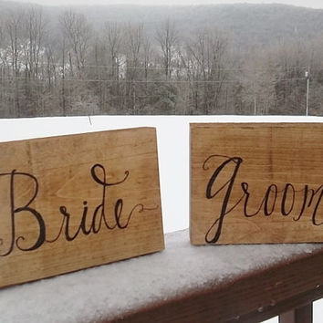 Rustic Bride and Groom Table Signs, Rustic Wedding Decor, Rustic Country Wedding Signs, Ceremony Signs, Reception Signs