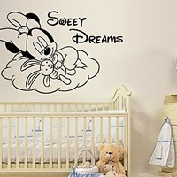 Minnie Mouse Wall Decals Sweet Dreams Decal Sticker Kids Girl Room Bedroom Nursery Home Decor Art Mural SM82
