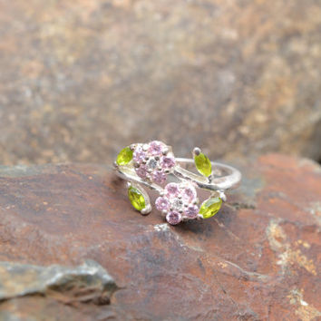 Sterling Silver Flower Ring with Green and Pink Stones