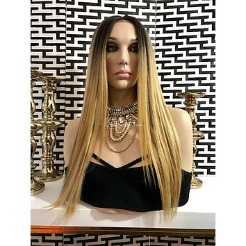 Blonde Ombré Straight Human Hair Blend Multi Parting Lace Front Wig - O'Hara