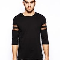ASOS 3/4 Sleeve T-Shirt With Mesh Stripes