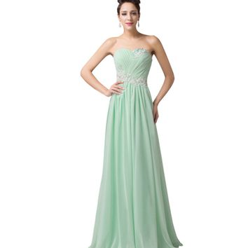 Mint Pastel Green Long Strapless Women's Formal Dress - Bridesmaids - Prom - Party
