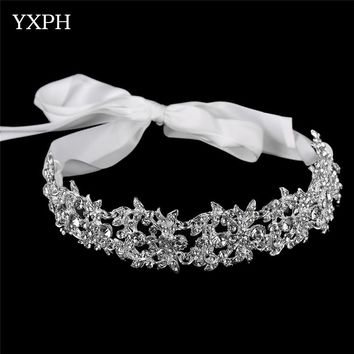 YXPH Handmade Bridal Headband Tiara Crown Silver Wedding Hair Accessories Elegant Headpiece Rhinestone Women Hair Jewelry FG054