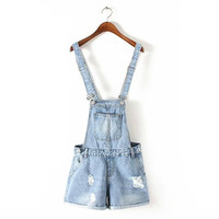 Korean Summer Women's Fashion With Pocket Ripped Holes Rinsed Denim Slim Denim Shorts Romper [4918829828]