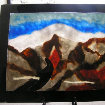 Painting in glass frit of Mt Baldy with snow