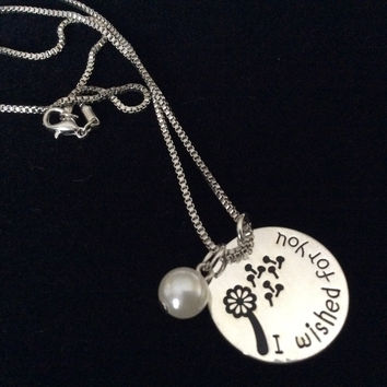 I Wished For You Silver Stamped Silver Charm Pendant Necklace with Pearl Trendy Inspirational