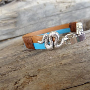 Genuine Leather Turquoise,Camel Bracelet, Snake Clasp Bracelet, Unisex Jewelry, Double Cuff Bracelet, Couble Bracelet, Summer Fashion Gifts