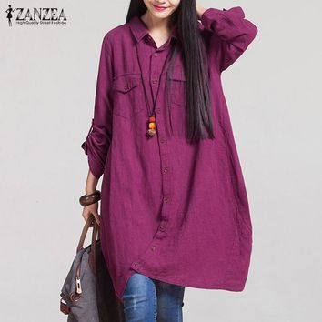 ZANZEA Fashion Women Blouses  Autumn Long Sleeve Irregular Hem Cotton Shirts Casual Loose Blusas Tops Plus Size S-5XL