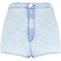 LIGHT WASH TUBE SHORTS