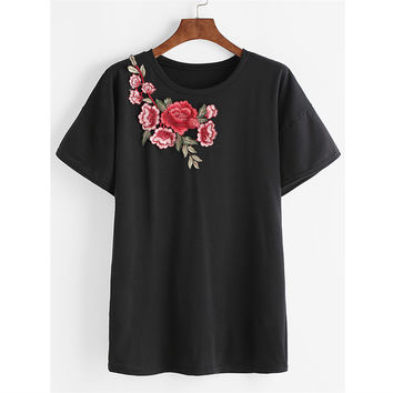 Short Sleeve Stylish Sexy Round-neck Tops T-shirts [10417016455]