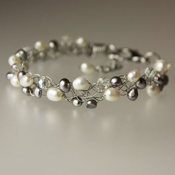 Pearl gray white crystal chunky wiring beaded bracelet Bridesmaids gifts Free US Shipping handmade Anni Designs