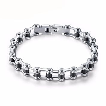 Top Quality Men's Motorcycle Chain Bracelet Bangle Stainless Steel [3 Variants]