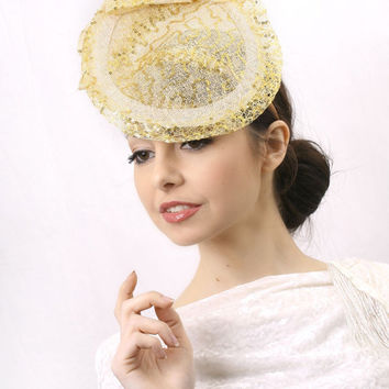 Ascot Hat FREE DELIVERY! Elegant Gold and Ivory Ascot Saucer Fascinator hat, golden Kentucky derby hat, Wedding Hat, Haute Couture headpiece