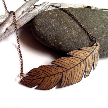 Painted feather charm necklace choker in copper brown