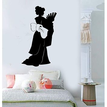 Vinyl Wall Decal Geisha Asian Woman Silhouette Oriental Stickers Unique Gift (ig3812)