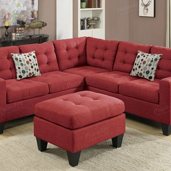 Poundex F6936 4 pc collette collection carmine polyfiber faux linen fabric upholstered modular sectional sofa