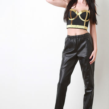 Vegan Leather Jogger Pants