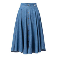 Stylish High Rise Metal Denim Women's Fashion Dress Skirt [5013346820]