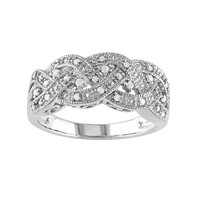 Sterling Silver 1/8-ct. T.W. Diamond Braided Ring (White)