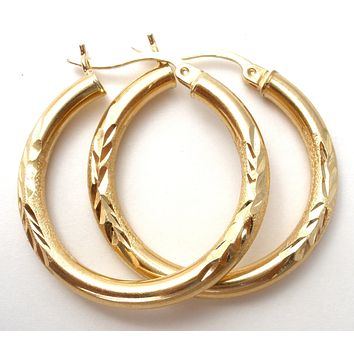 14K Yellow Gold Diamond Cut Hoop Earrings Vintage
