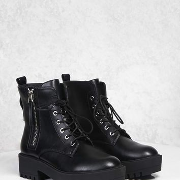 Zip-Up Lug Sole Boots