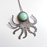$65.00 Deep Seas Sterling Silver Octopus Necklace by HouseThatCrowBuilt
