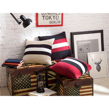 Knitted Cushion Stripe Cushion Cotton Knitted Pillow Cable Knit Cushion Decorate Pillows Coussin Cojines Sofa Free Shipping