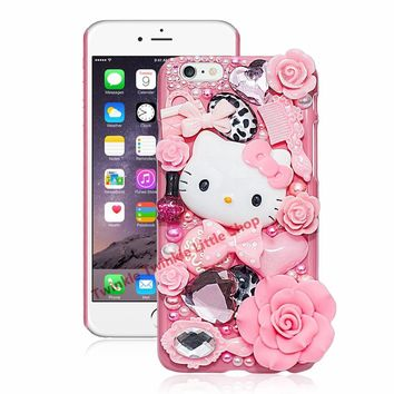 Cute Hello Kitty Crystal Pearl 3D Case For iPhone