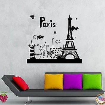 Wall Stickers Vinyl Decal Paris Eiffel Tower France Vacation Summer  Unique Gift (z2092)