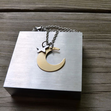 Moon and Star Necklace - Brass - Looks Like Silver - Aluminum - Modern - Rustic Under 25 - For Her - Celestial - Minimalist - Earthy - Gold