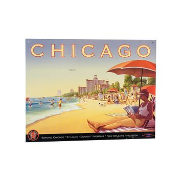 Chicago & Southern Airlines Vintage Tin Poster