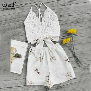 Dotfashion Floral Lace Sexy Two Piece Set Women Cross Bow Tie Back Cami Top With Shorts 2018 Summer Holiday Crop 2 Piece Sets