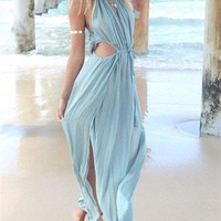 Casual Ecstatic Fashion Halter Solid Color Dress