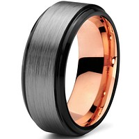 8mm Silver Brushed Rose Gold Tungsten Beveled Step Edge Black Pipe Cut