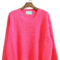 Rose Red Batwing Long Sleeve Cable Knit Sweater - Sheinside.com