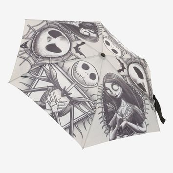 Licensed cool Disney The Nightmare Before Christmas Jack & Sally Compact Push Button Umbrella