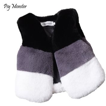 2018 Baby Autumn Winter Fur Vest Waistcoat Children Fur Vest Boys Girls Imitation Fur Coat Kids Faux Fur jas meisje Clothes W25