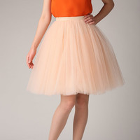 Champagne tulle skirt, light pink tutu skirt, petticoat, rose wedding skirt, custom made to order