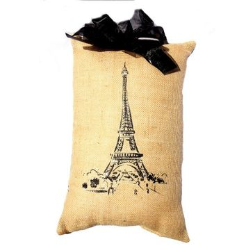 Paris Eiffel Tower Accent Pillow with Rhinestones and Black Fabric Bow - Handmade