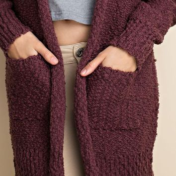 Aspen Knit Pocket Cardigan | Burgundy | Plus