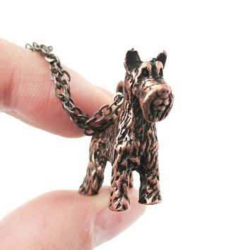 Realistic Schnauzer Puppy Dog Shaped Animal Pendant Necklace in Copper | Jewelry for Dog Lovers