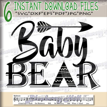 Baby bear SVG - Baby bear svg digital - Baby bear with Arrow - Baby bear clipart - Baby bear SVG file - DIY- Svg - Dxf- Eps - Png -Jpg - Pdf