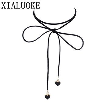 XIALUOKE Fashion simple hearts velvet strip love knot bow heart-shaped necklace chain Women necklace jewelry