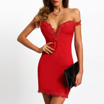 Womens Sexy Dresses Party Night Club Red Bandage Dress 2016 Tube Top backless Mini Dresses with Lace patchwork vestidos robe