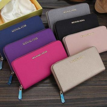 ONETOW Michael Kors' Women MK Purse Simple Fashion Double Layer Zip Long Section Wallet Handbag