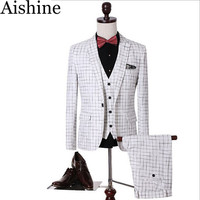 Men's Slim Fit Three-Piece Dinner Plaid Suit