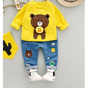 Toddler boy clothing set spring autumn kids clothes long-sleeved cartoon T-shirt+ jeans 2pcs baby boy clothes